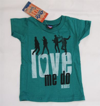 "Picture of Beatles T-Shirt: Junk Food: Infant T-Shirt ""Love Me Do"" Teal"