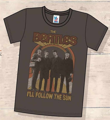 "Picture of Beatles T-Shirt: Junk Food Men's Brown ""I'll Follow the Sun"""