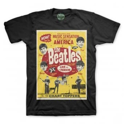 Picture of Beatles Adult T-Shirt: Chart Toppers Poster