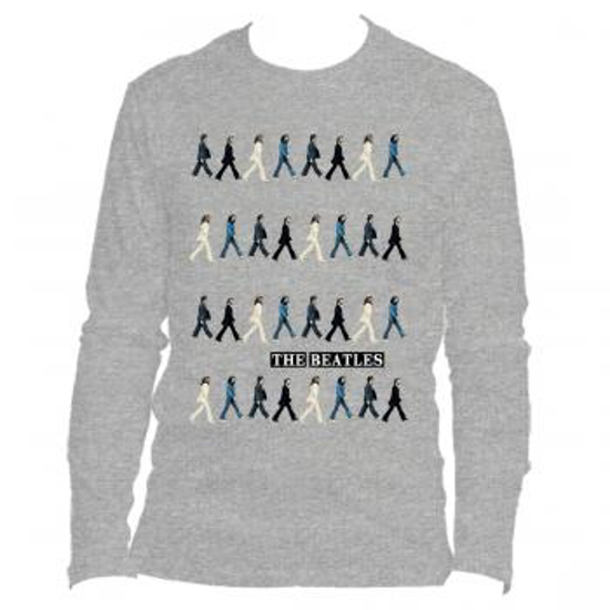 Beatles Adult T Shirt Abbey Road Crossing Repeated Long Sleeve