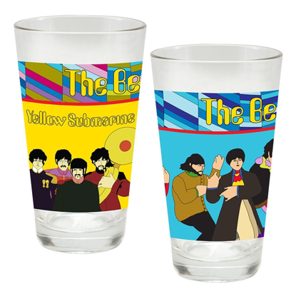 "Picture of Beatles Glasses: The Beatles ""Yellow Submarine"" 2 pc. Laser Decal Glass Set"