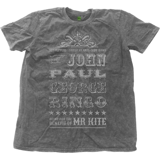 Picture of Beatles Adult T-Shirt: Mr Kite Snow Wash Sgt. Pepper Tee