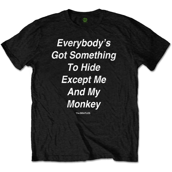 """Picture of Beatles Adult T-Shirt: Beatles Song Lyric Edition """" 'Everybody's Got Something to Hide Except Me And My Monkey"""""""