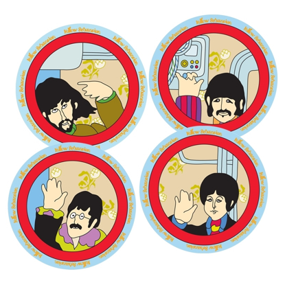Picture of Beatles Plate: Yellow Submarine 4 pc. 8 in. Ceramic Salad Plate Set