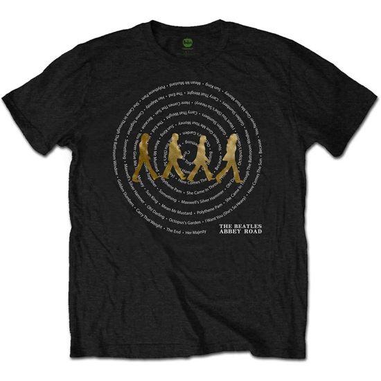 Picture of Beatles Adult T-Shirt: Abbey Road Song Swirl (Black)