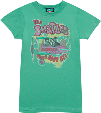 """Picture of Beatles T-Shirt: Ladies Green T-Shirt """"Hello, Good Bye"""""""