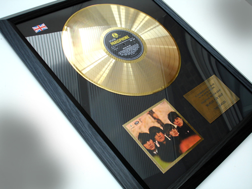 """Picture of Beatles Record Award: """"BEATLES FOR SALE"""" 24ct GOLD"""