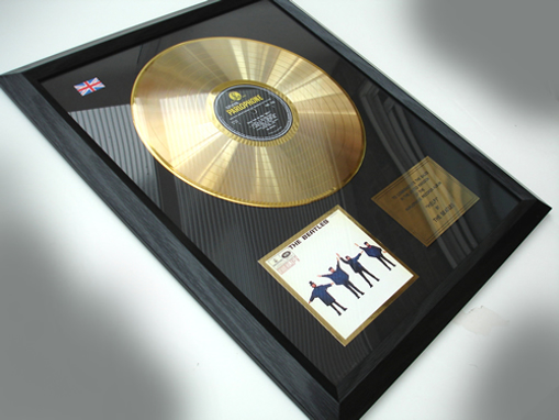 """Picture of Beatles Record Award: """"HELP!"""" 24ct GOLD"""