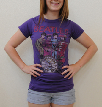 Picture of Beatles T-Shirt: This Womens /Jrs Junkfood Sgt Peppers Purple