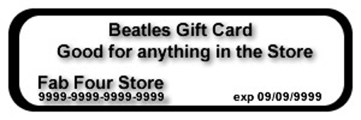 "Picture of Beatles Gift Card - Certificate ""Virtual"" Instant Gift"