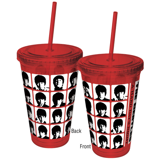 """Picture of Beatles Cup: The Beatles """"Hard Day's Night"""" 16 oz. Plastic Travel Cup"""