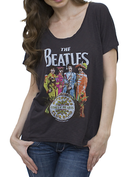 Picture of Beatles T-Shirt: Sgt Pepper Black Vintage Inspired Drifter Dolman