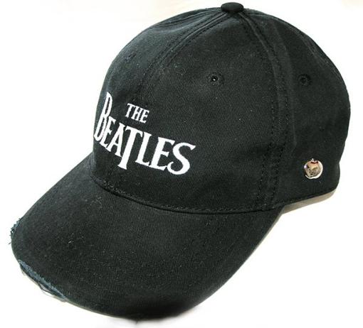 Picture of Beatles Cap: The Beatles Drop T Logo Distressed (Black)