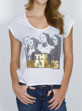 Picture of Beatles T-Shirt: Womens Gold Foil