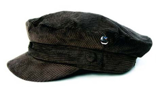 """Picture of Beatles Cap: Cord Hat  Brown ( Silver apple)  Large Size Hat (22""""inch)"""