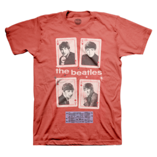 Picture of Beatles Adult T-Shirt: Vegas Cards & 1964 Ticket Small-Adult-Size