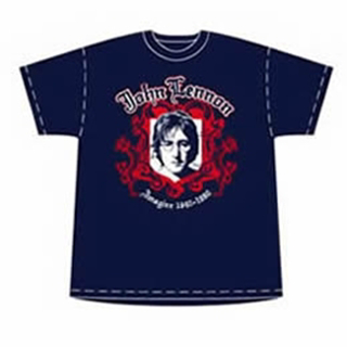 Picture of T-Shirt: John Lennon Crest Navy Small-Adult-Size
