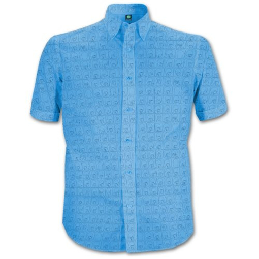 Picture of Beatles Dress Shirt: Blue Hard Day's Night Pattern
