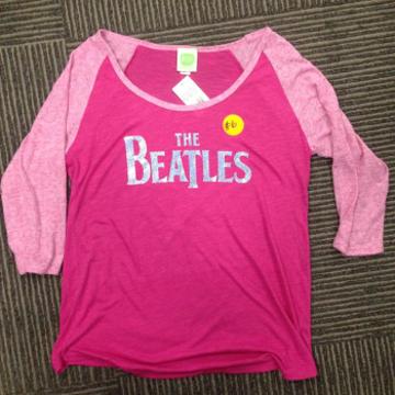 Picture of Beatles Jr's T-Shirt: Pink Foil Raglan