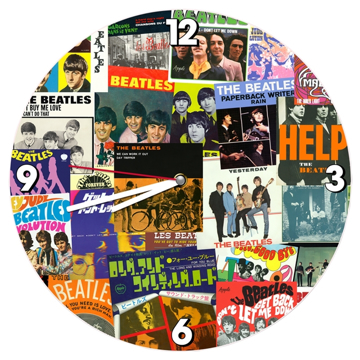 Picture of Beatles Clock: The Beatles Singles Covers Collage
