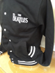 Picture of Beatles Mens Varsity Jacket: Drop T Logo Black Sleeves