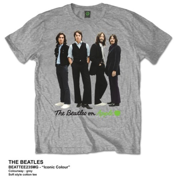 Picture of Beatles Adult T-Shirt: Beatles on Apple Iconic (Grey)