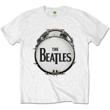 Picture of Beatles Adult T-Shirt: Drum Skin Logo - White
