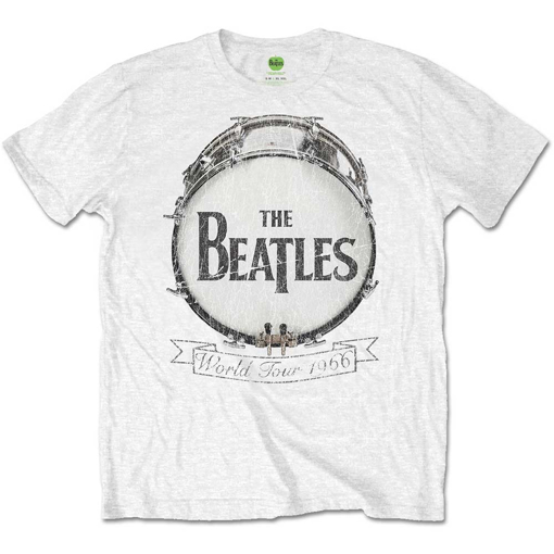 Picture of Beatles Adult T-Shirt: Drum Skin Logo 66 Tour - White