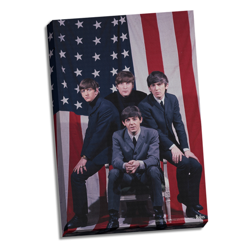 """Picture of Beatles ART: 24""""  X  36""""  The Beatles US Flag Canvas"""