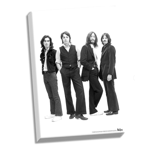 "Picture of Beatles ART: The Beatles 1969 Group Pose White Background Stretched 24"" x 36"" Canvas"