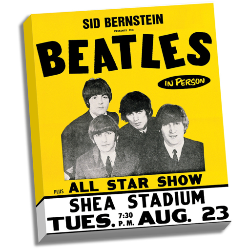 """Picture of Beatles ART: The Beatles Shea Stadium 8/23/66 Stretched 22"""" x 26"""" Canvas"""