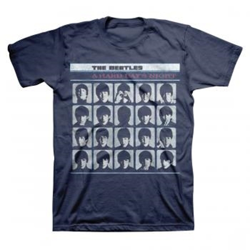 """Picture of Beatles Adult T-Shirt: """"A Hard Days Night"""" - Dark Blue"""