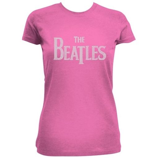 Picture of Beatles Jr's T-Shirt: Drop T Logo in Rhinestone Pink Tee