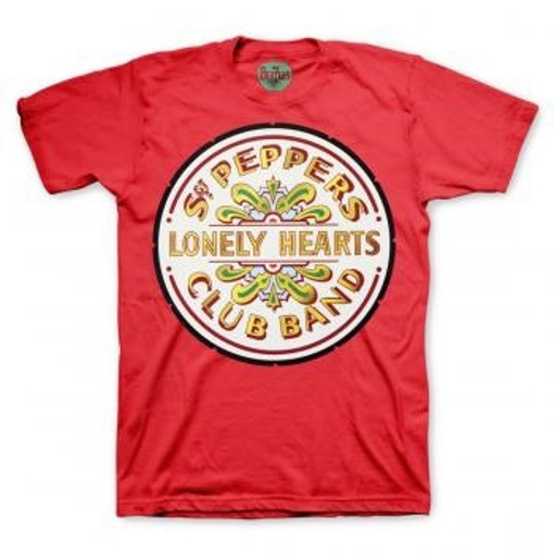 Picture of Beatles Adult T-Shirt: Sgt Pepper Seal (Red)