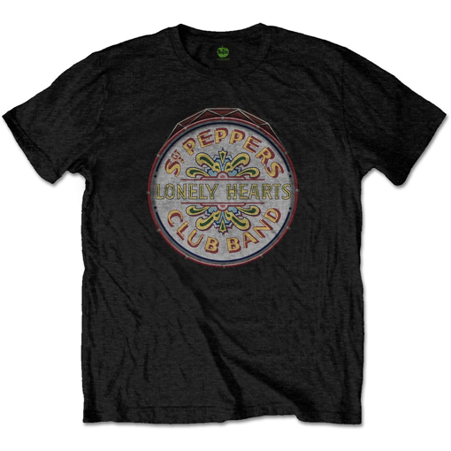 Picture of Beatles Adult T-Shirt: Sgt Peppers Drum Seal Logo Black