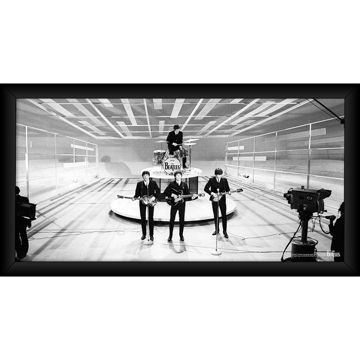Picture of Beatles ART: The Beatles 'On Stage' Black and White 10x20 Framed Photo
