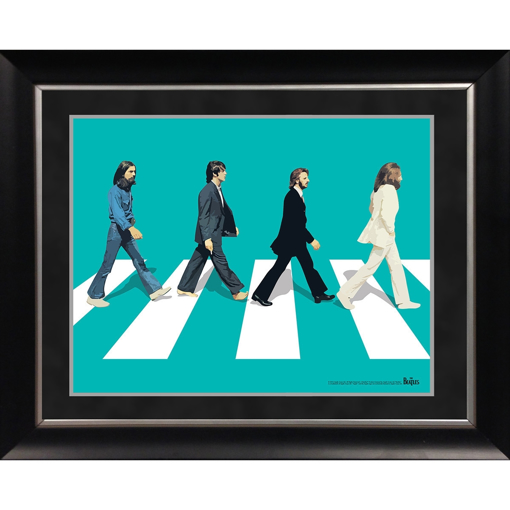 Picture of Beatles ART: The Beatles 'Abbey Road Teal Background' 11x14 Framed Photo