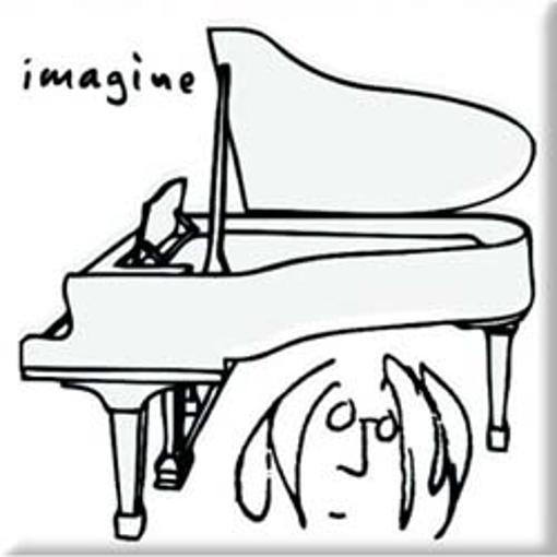 """Picture of Beatles Magnet: John Lennon """"Imagine Black on White"""""""