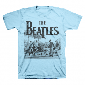 Picture of Beatles Adult T-Shirt: Beatles on Bicycles in Blue