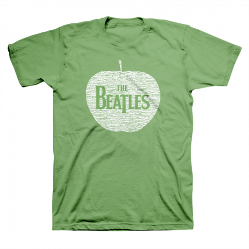 Picture of Beatles Adult T-Shirt: White Apple Logo on Green Tee