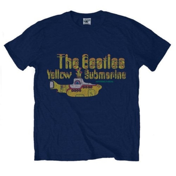 Picture of Beatles Adult T-Shirt: Yellow Submarine Nothing is Real Tee - Navy
