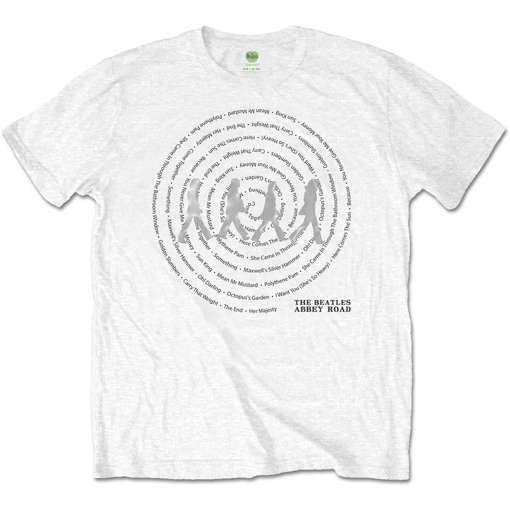 Picture of Beatles Adult T-Shirt: Abbey Road Song Swirl (White)