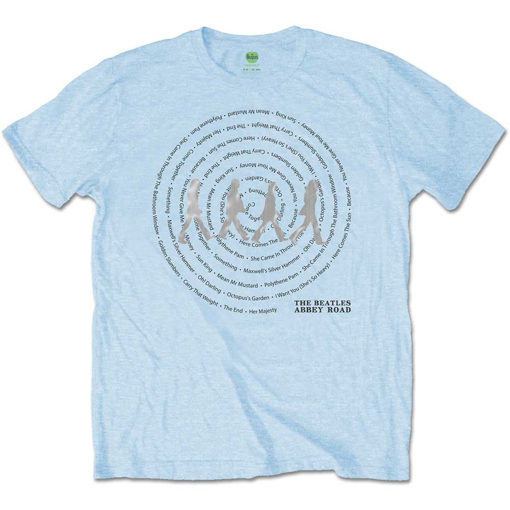 Picture of Beatles Adult T-Shirt: Abbey Road Song Swirl (Blue)