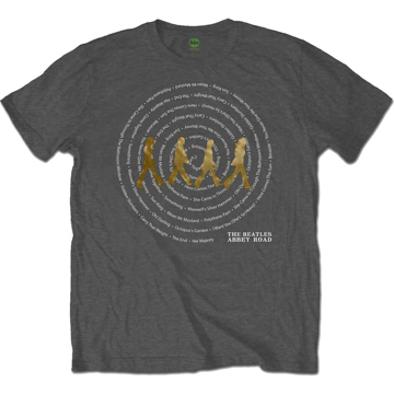 Picture of Beatles Adult T-Shirt: Abbey Road Song Swirl (Charcoal)