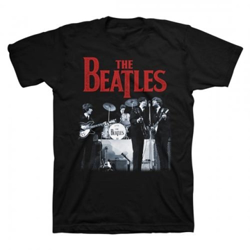 Picture of Beatles Adult T-Shirt: Beatles on Stage Red Logo