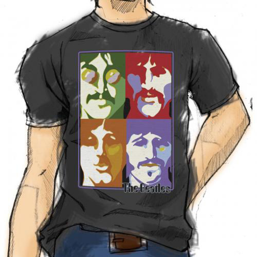 Picture of Beatles Adult T-Shirt: Poster Faces
