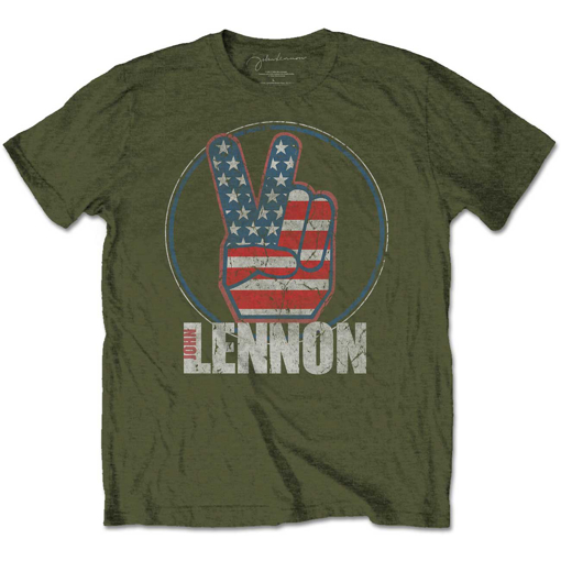 Picture of Beatles Adult T-Shirt: John Lennon Peace US Flag