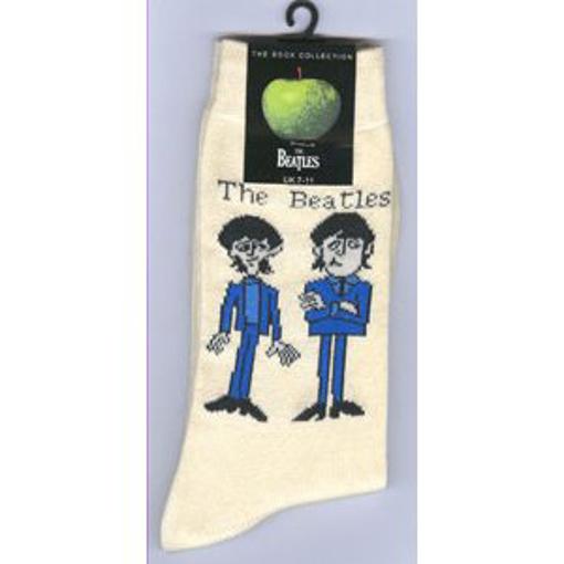 Picture of Beatles Socks: Men's Cartoon Standing (Cream)