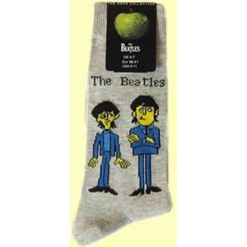 Picture of Beatles Socks: Men's Cartoon Standing (Grey)