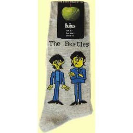 Picture of Beatles Socks: Men's Cartoon Standing (Grey)